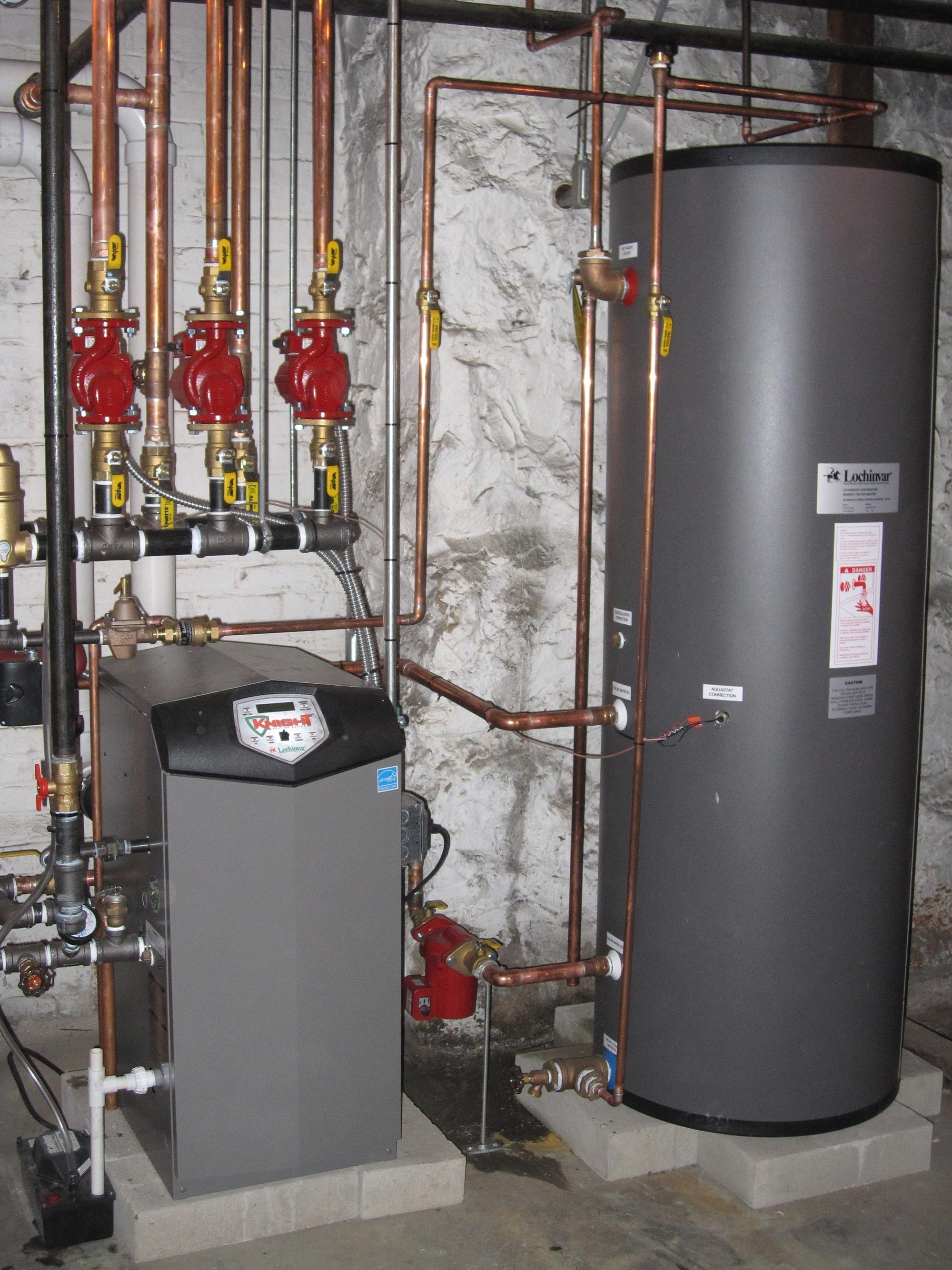 High Efficiency Gas Boiler with Hot Water Tank & High Velocity AC System