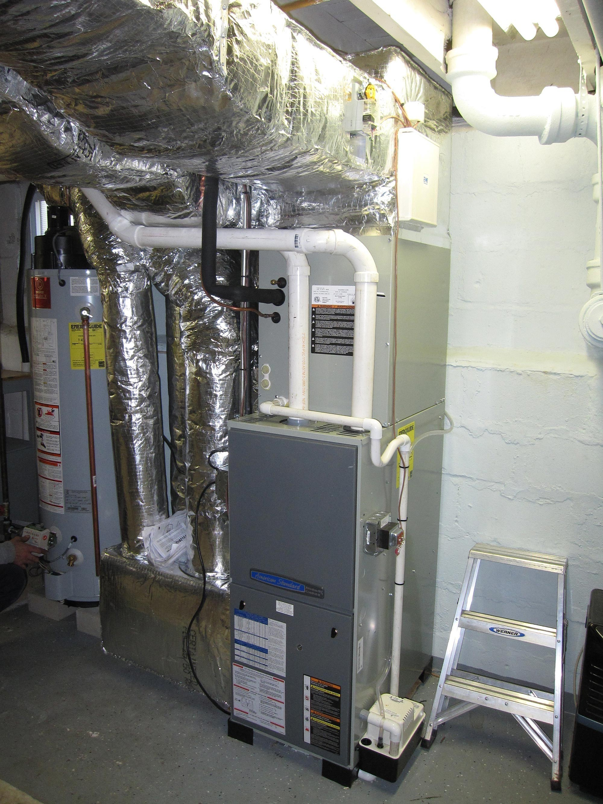 Gas Furnace With Add On Ac System And Hot Water Tank